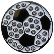 ReadyGolf: Soccer Ball Ball Marker & Hat Clip with Crystals