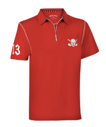 Tattoo Golf: Men's Lucky 13 Hybrid Performance  Polo Golf Shirt - Red/White