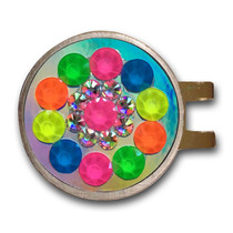 Blingo Ball Markers: Neon Confetti on Silver Mirror