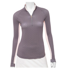 Fairway & Greene: Women's Kinsley Zip Mock Top - Greystone