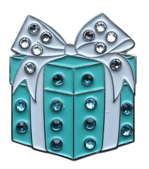 ReadyGolf: Blue Gift Box Ball Marker & Hat Clip with Crystals