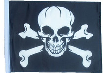 SSP Flags: 11x15 inch Golf Cart Replacement Flag - Pirate Skull & Cross Bones