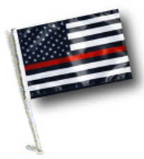 SSP Flags: Car Flag with Pole - Thin Red Line USA Black and White