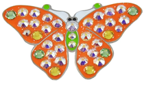 Navika: Swarovski Crystals Ball Marker & Hat Clip - Orange Butterfly