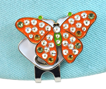 Navika: Ball Marker adorned with Crystals from Swarovski® with Hat Clip - Orange Butterfly