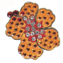 Navika: Swarovski Crystals Ball Marker & Hat Clip  - Orange Hibiscus