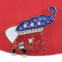 Navika: Ball Marker adorned with Crystals from Swarovski® with Hat Clip - Republican Elephant