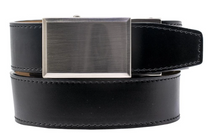 Nexbelt:  Specialty - Brushed Nickel Smooth Dress Belt - Black
