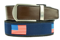 Nexbelt: Men's Hampton Belt - USA Brown/Blue
