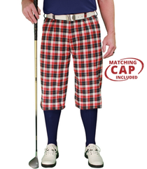 Golf Knickers: Men's 'Par 5' Plaid Golf Knickers & Cap - Aberdeen
