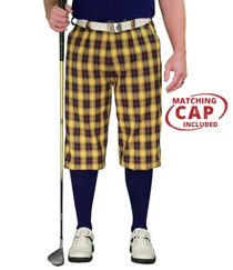 Golf Knickers: Men's 'Par 5' Plaid Golf Knickers & Cap - Cork