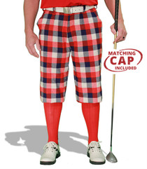 Golf Knickers: Men's 'Par 5' Plaid Golf Knickers & Cap - Forfar
