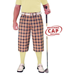 Golf Knickers: Men's 'Par 5' Limited Plaid Golf Knickers & Cap - Havana