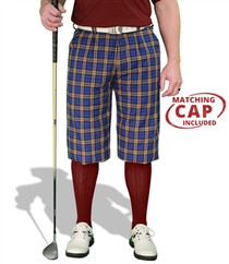 Golf Knickers: Men's 'Par 5' Plaid Golf Knickers & Cap - Myrtle