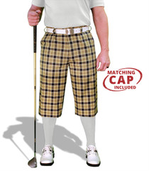 Golf Knickers: Men's 'Par 5' Plaid Golf Knickers & Cap - Perth