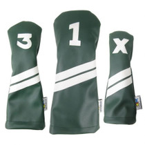 Sunfish: DuraLeather Headcovers Set - Green with White Stripes