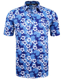 Tattoo Golf: Men's ProCool Golf Shirt - Aloha Hawaiian (Blue)
