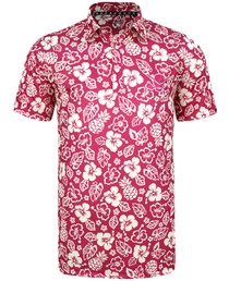 Tattoo Golf: Men's ProCool Golf Shirt - Aloha Hawaiian (Red)