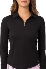 Golftini: Women's Long Sleeve Zip Tech Polo - Black