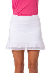 Golftini: Women's Top Golf Pull-On Mesh Trim Ruffle Skort - White