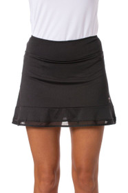 Golftini: Women's Top Golf Pull-On Mesh Trim Ruffle Skort - Black