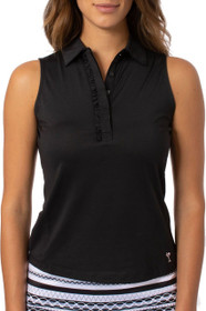 Golftini: Women's Sleeveless Ruffle Tech Polo - Black