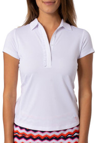 Golftini: Women's Short Sleeve Ruffle Tech Polo - White