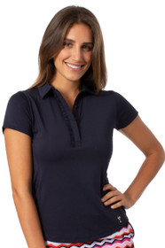 Golftini: Women's Short Sleeve Ruffle Tech Polo - Navy