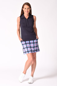 Golftini: Women's Sleeveless Ruffle Tech Polo - Navy