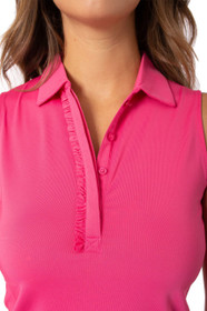 Golftini: Women's Sleeveless Ruffle Tech Polo - Hot Pink