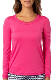Golftini: Women's Long Sleeve Mesh Trim Top - Hot Pink