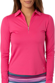 Golftini: Women's Long Sleeve Breathable Panel Zip Tech Polo - Hot Pink