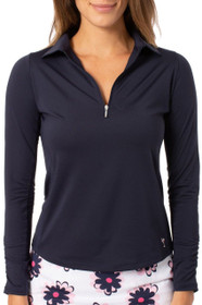 Golftini: Women's Long Sleeve Zip Tech Polo - Navy