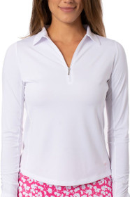 Golftini: Women's Long Sleeve Breathable Panel Zip Tech Polo - White