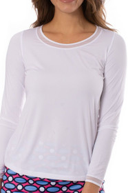 Golftini: Women's Long Sleeve Mesh Trim Top - White