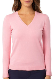 Golftini: Women's Long Sleeve V-Neck Sweater -  Light Pink