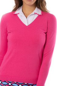 Golftini: Women's Long Sleeve V-Neck Sweater -  Hot Pink