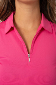 Golftini: Women's Sleeveless Zip Tech Polo - Hot Pink