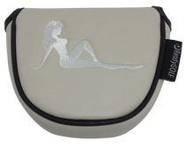 Mudflap Girl Embroidered Grey Putter Cover by ReadyGOLF - Mallet