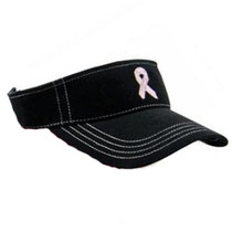 Imperial Headwear Pink Ribbon Breast Cancer Awareness Sport Visor - Black with Rhinestones (Velcro)