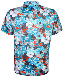 Tattoo Golf: Men's Hawaiian Golf Shirt - Aloha II (Teal/Orange)