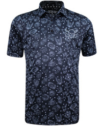 Tattoo Golf: Men's Tattoo Flash Cool-Strech Golf Shirt - Black