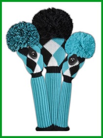 Just 4 Golf: Diamond Set Headcovers - Turquoise, Black & White