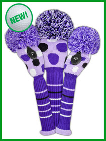 Just 4 Golf: Dot Set Headcovers - Purple, Black and White