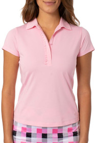 Golftini: Women's Short Sleeve Ruffle Tech Polo - Light Pink