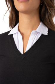 Golftini: Women's Long Sleeve V-Neck Sweater - Black