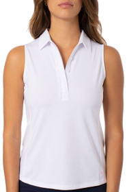 Golftini: Women's Sleeveless Ruffle Tech Polo - White
