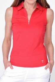 Golftini: Women's Sleeveless Zip Tech Polo - Red