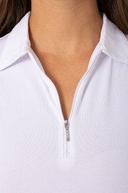 Golftini: Women's Sleeveless Zip Tech Polo - White