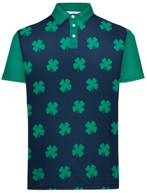 Four-Leaf Clover (Navy/Green) Mens Golf Polo Shirt by ReadyGOLF